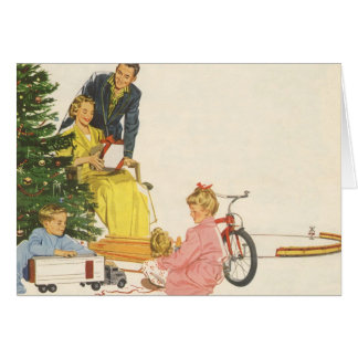 Vintage Christmas, Family Opening Gifts Card