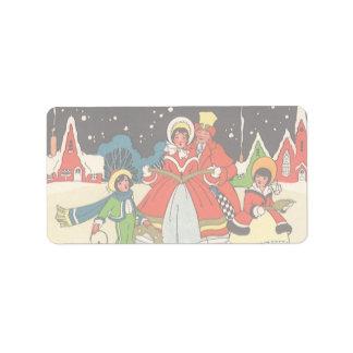 Vintage Christmas Family Singing Carols Labels