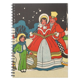 Vintage Christmas Family Singing Carols Notebook