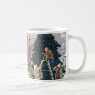 Vintage Christmas, Family Stringing Lights on Tree Classic White Coffee Mug