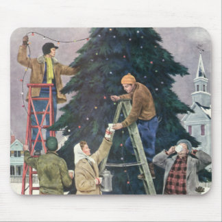 Vintage Christmas, Family Stringing Lights on Tree Mouse Pad