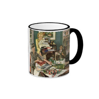 Vintage Christmas, Family Wrapping Gifts Coffee Mugs
