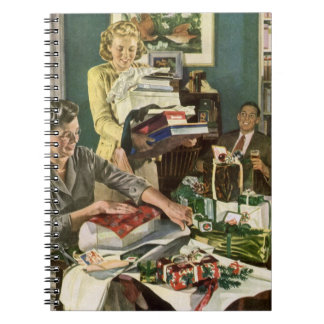Vintage Christmas Family Wrapping Gifts Notebooks