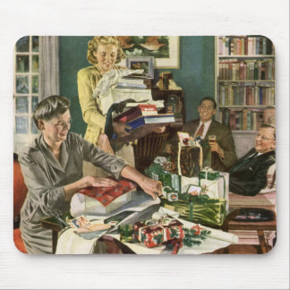 Vintage Christmas, Family Wrapping Presents Mouse Pad