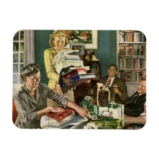 Vintage Christmas, Family Wrapping Presents Rectangular Photo Magnet