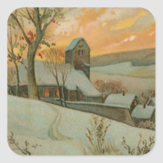 Vintage Christmas Farm with Deer Square Sticker