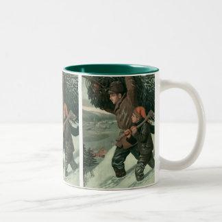 Vintage Christmas, Father and Son Cut Down aTree Two-Tone Coffee Mug