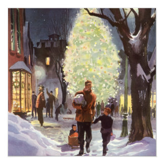 Vintage Christmas, Father Shopping with the Kids Card