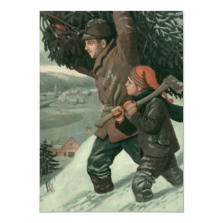 """Vintage Christmas, Father, Son Cutting Down aTree 5"""" X 7"""" Invitation Card"""