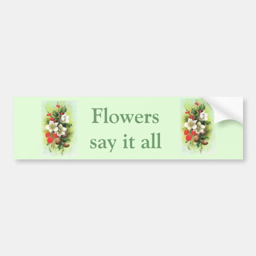 Vintage Christmas, Flowers and berries Bumper Stickers