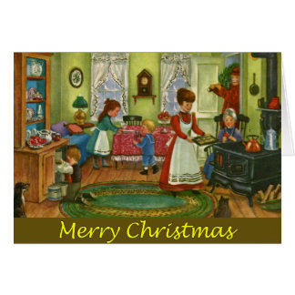 Vintage Christmas Folk Art Greeting Card
