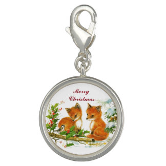 Vintage Christmas Foxes Photo Charms