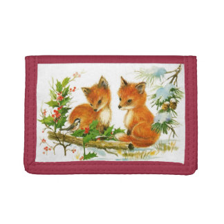 Vintage Christmas Foxes Tri-fold Wallet