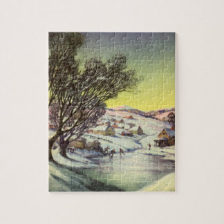 Vintage Christmas,  Frozen Lake with Ice Skaters Jigsaw Puzzle