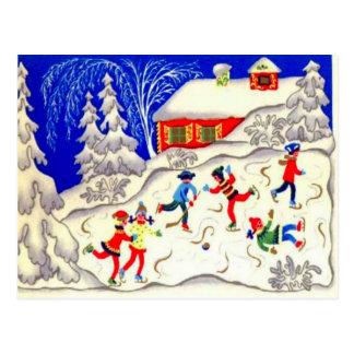 Vintage Christmas fun, Skating on the pond Postcard
