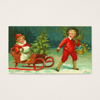 Vintage Christmas Gift Tag-See back Business Card