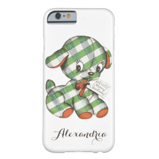 Vintage Christmas Gingham Puppy Dog Stuffed Animal Barely There iPhone 6 Case
