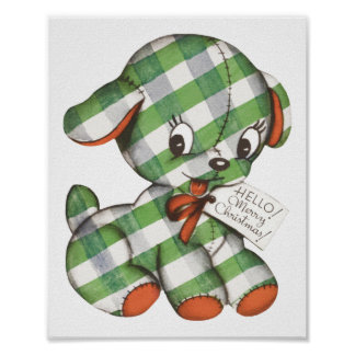 Vintage Christmas Gingham Puppy Dog Stuffed Animal Poster