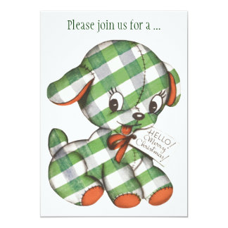 Vintage Christmas Gingham Puppy Party Invitation