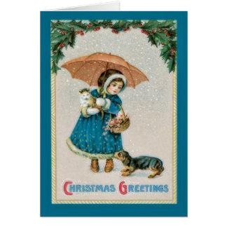 Vintage Christmas Girl and Pets Card