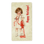 Vintage Christmas Girl and Red Ribbon Ver3 Custom Shipping Label