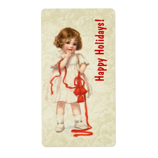 Vintage Christmas Girl and Red Ribbon Ver3 Shipping Label