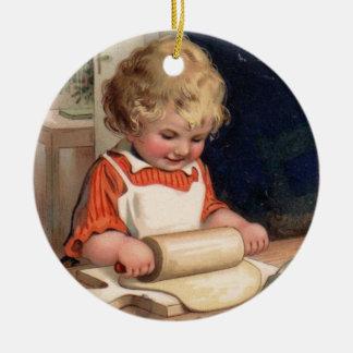 Vintage Christmas - Girl Baking Cookies Ceramic Ornament