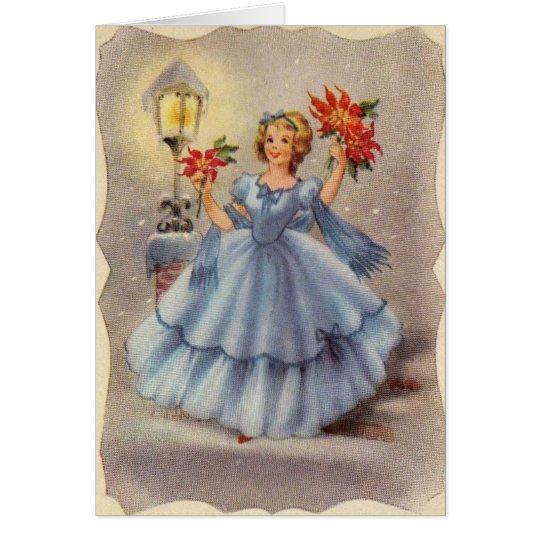 Vintage Christmas Girl In Blue Dress Card