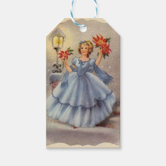 Vintage Christmas Girl In Blue Dress Gift Tags