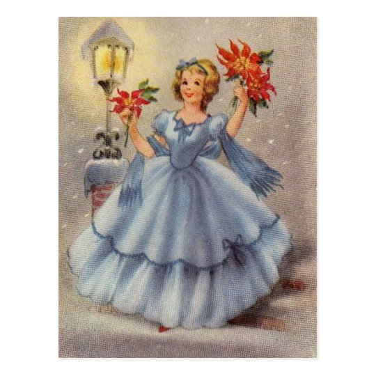Vintage Christmas Girl In Blue Dress Postcard