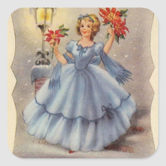 Vintage Christmas Girl In Blue Dress Square Sticker
