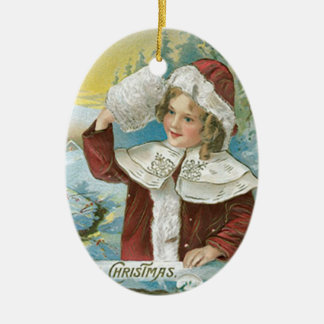 Vintage Christmas Girl in Santa Suit Ceramic Ornament