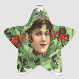 Vintage Christmas, girl in the holly Star Sticker