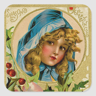 Vintage Christmas Girl Square Sticker