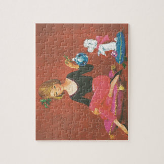 Vintage Christmas Girl With French Poodle Jigsaw Puzzle