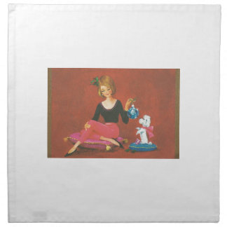 Vintage Christmas Girl With French Poodle Napkin