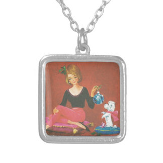 Vintage Christmas Girl With French Poodle Silver Plated Necklace