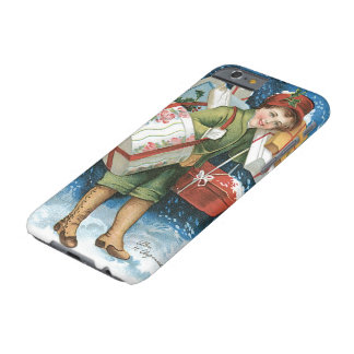 Vintage Christmas, Girl with Gifts in Winter Snow Barely There iPhone 6 Case