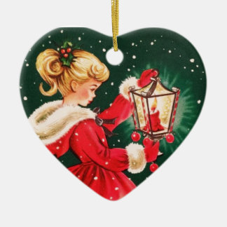 Vintage Christmas Girl With Lantern Ceramic Ornament