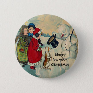 vintage christmas girls 2 inch round button