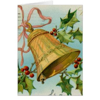 Vintage Christmas Gold Bells Greeting Cards