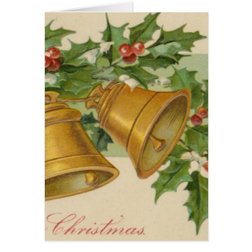 Vintage Christmas Gold Bells & Frozen Holly. Greeting Cards