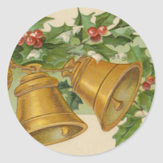 Vintage Christmas Gold Bells & Frozen Holly. Classic Round Sticker