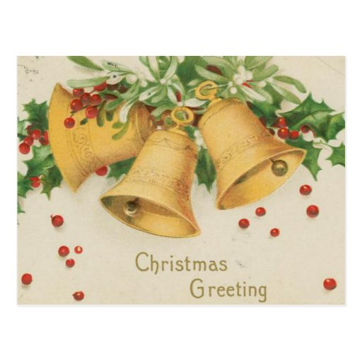 Vintage Christmas Gold Bells & Holly Berries Post Cards