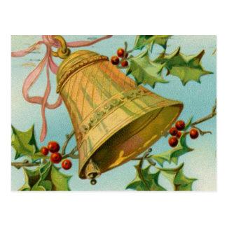 Vintage Christmas Gold Bells Postcard