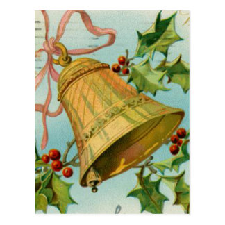 Vintage Christmas Gold Bells Post Card
