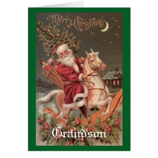 Vintage Christmas Grandson Card