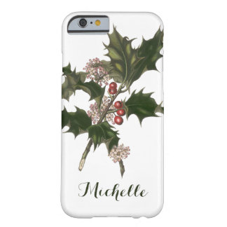 Vintage Christmas, Green Holly Plant with Berries Barely There iPhone 6 Case