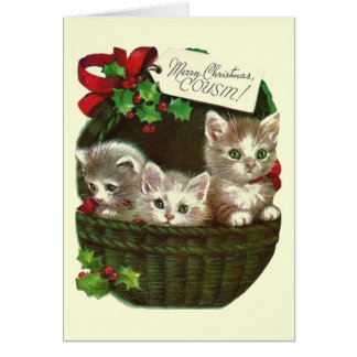 Vintage Christmas Greeting Card For Cousin