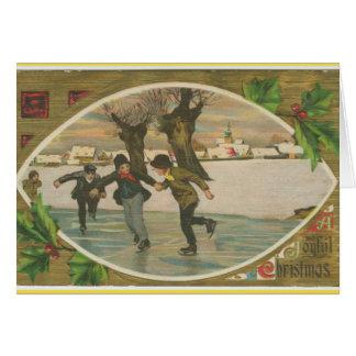 Vintage christmas greeting card kids ice skating